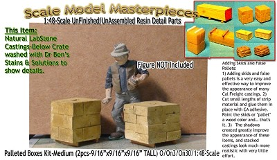 Palleted Boxes/Cinder Blocks-Small (2pcs) Scale Model Masterpieces O/On3/On30/1:48 *NEW*