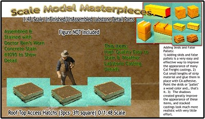 Roof Top Access Hatch (3pcs) Scale Model Masterpieces O/On3/On30/1;48
