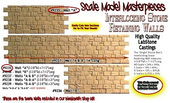 "INTERLOCKING STONE RETAINING WALL ""A"" S/Sn42/O/On3/On30 (LabStone)"