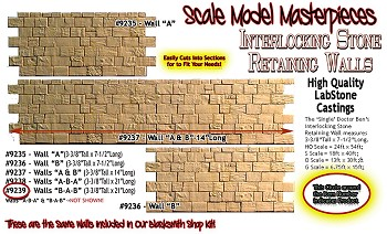 "INTERLOCKING STONE RETAINING WALL ""B-A-B"" Scale Model Masterpieces /Yorke S/On3/On30"