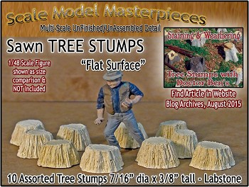 Sawn Tree Stumps-Assorted Flat Surface (10pcs) Scale Model Masterpieces O/1:48