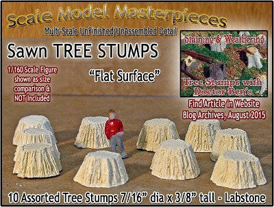 Sawn Tree Stumps-Assorted Flat Surface (10pcs) Scale Model Masterpieces N/1:160