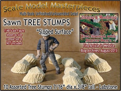Sawn Tree Stumps-Assorted Sloped Surface (10pcs) Scale Model Masterpieces O/1:48