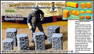 Brick Deck/Pillar/Column Support Footers (4pcs) Scale Model Masterpieces / Thomas A Yorke Ent. O/1:48