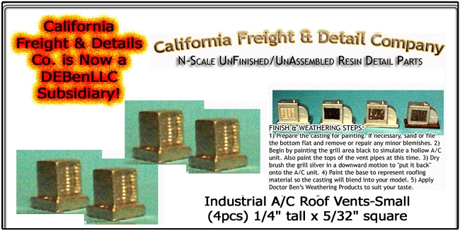 Industrial Roof Vents-Small (4pcs) N/Nn3/1:160-Scale California Freight & Details Co