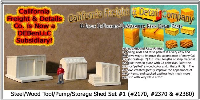Steel/Wood Tool/Pump/Storage Shed Set (3pcs) N/Nn3/1:160 California Freight & Details Co