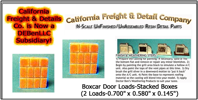 Boxcar Door Loads-Stacked Boxes (2 Loads) N/Nn3/1:160-Scale California Freight & Details Co.