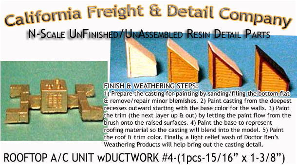 ROOFTOP A/C UNIT w/DUCTWORK #4-(1pcs) N/Nn3/1:160-Scale CAL FREIGHT & DETAIL CO