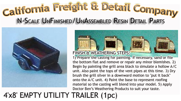 EMPTY 4'x8' UTILITY TRAILER (2kits) N/Nn3/1:160-Scale CALIFORNIA FREIGHT & DETAILS