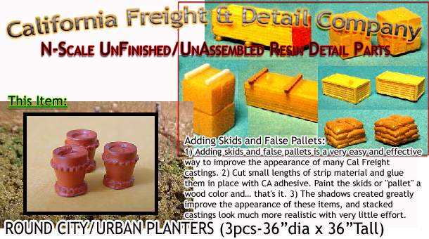 ROUND CITY/URBAN PLANTERS (3pcs) N/Nn3/1:160-Scale CAL FREIGHT & DETAILS