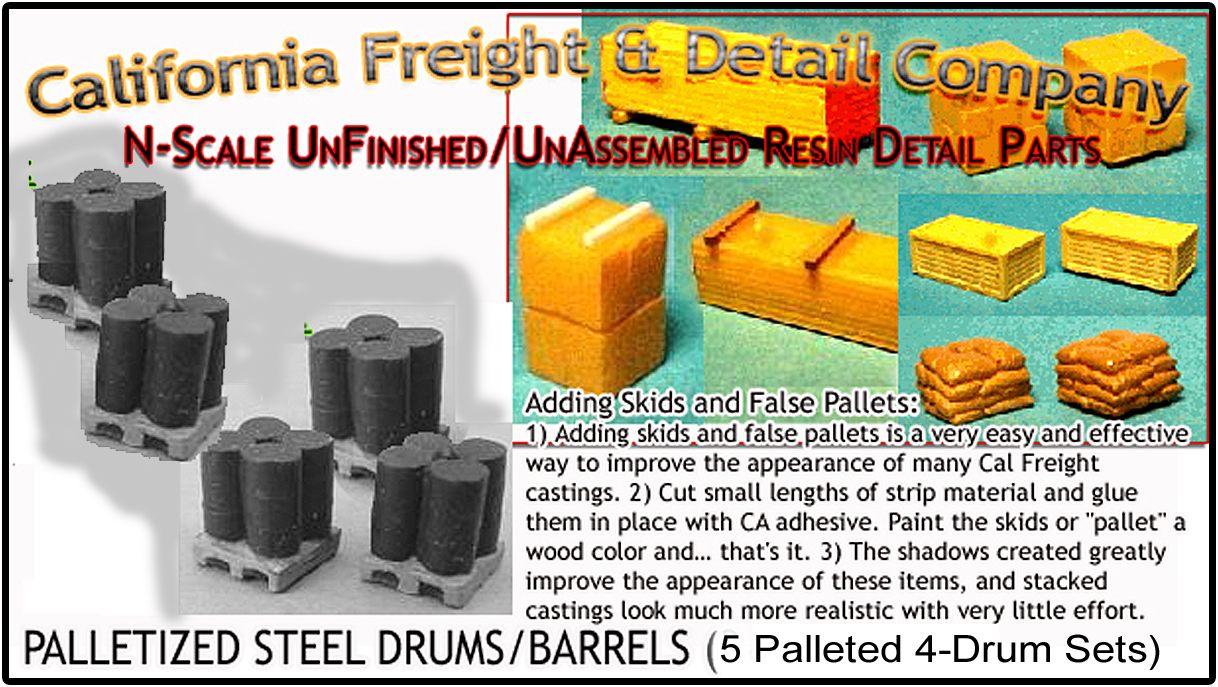 Steel 55gal Drums/Barrels-Palleted 5pc Set of 4 N/Nn3/1:160 California Freight & Details Co.