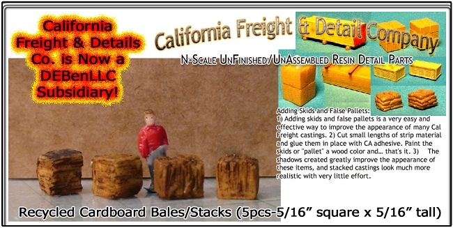 Recycled Cardboard Bales/Stacks (5pcs) N/Nn3/1:160-Scale California Freight & Details Co