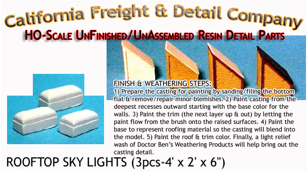 Roof Top Sky Lights-Modern (3pcs) HO/HOn3/HOn30 California Freight & Details Co.
