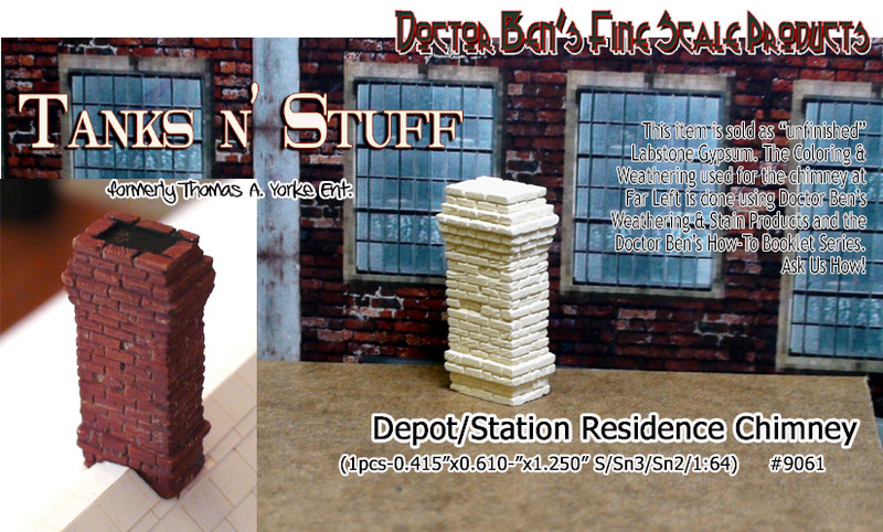 BRICK CHIMNEY DEPOT/STATION/FACTORY-Scale Model Masterpieces/Yorke Sn3/Sn2