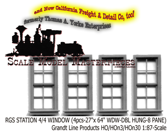RGS Station 4/4 Window 4pcs Grandt Line/Scale Model Masterpieces HOn3/HOn30