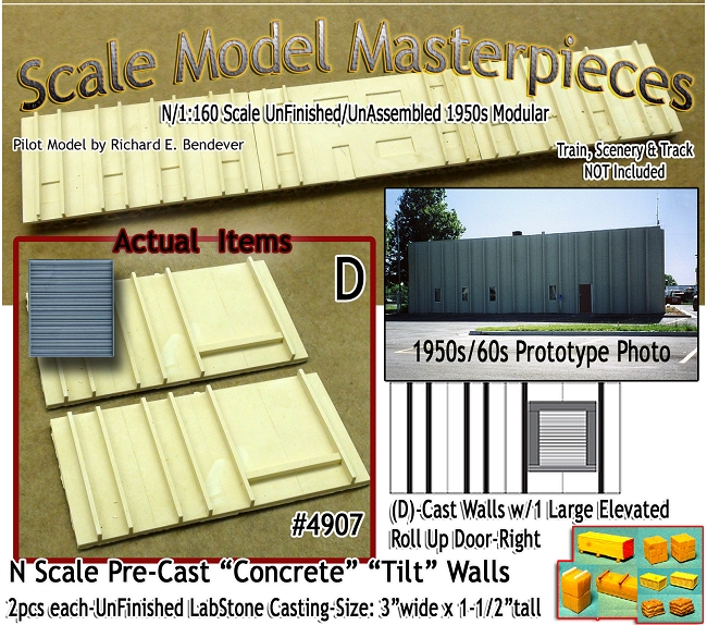 Tilt-Up Spline Style Walls (D)-Single Lg Elevated Roll Up Door-Right (2pcs ) Scale Model Masterpieces