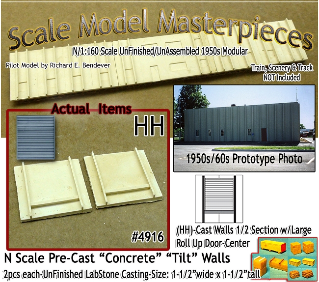 Tilt-Up Spline Style Walls (HH)-1/2 Section w/Lg Roll Up Door-Center (2pcs-20'x20') SMM-N/Nn3