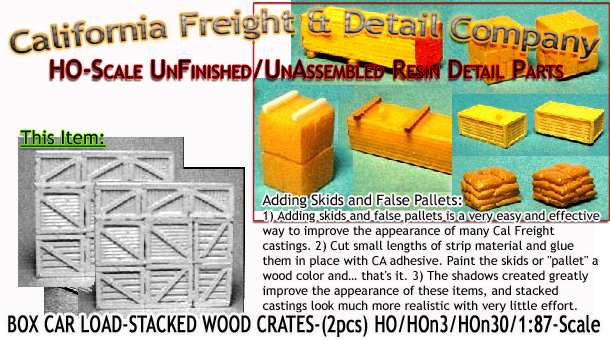 Box Car Load-Stacked Wood Crates (2pcs) HO/HOn3/HOn30-Scale Model Masterpieces