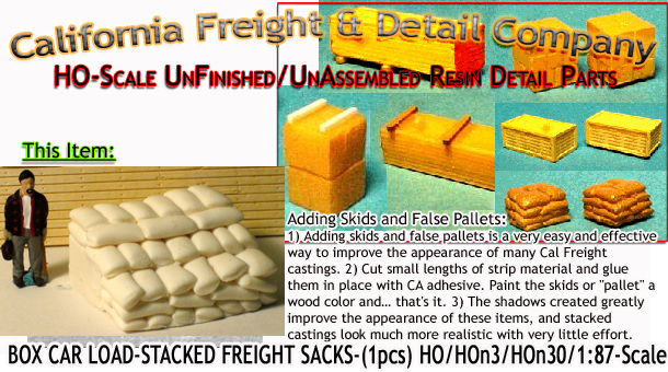 Stacks 'O Sacks-Boxcar Load-Stacked Freight Sacks (1pc) Scale Model Masterpieces HO/HOn3/HOn30