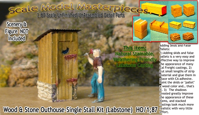 Wood & Stone Outhouse-Single Stall Kit HO/HOn3/HOn30-Scale Model Masterpieces