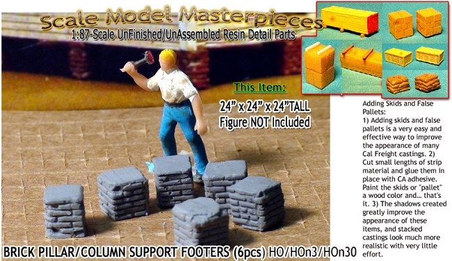 Brick Deck/Pillar/Column Support Footers (6pcs) Scale Model Masterpieces / Thomas A Yorke Ent. HO/1;87