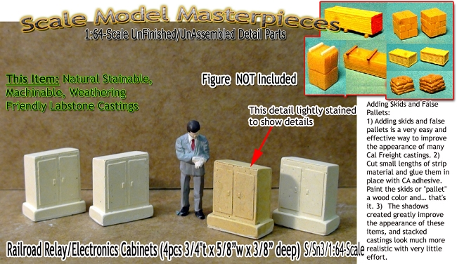 Railroad Relay/Electronics Cabinets (4pcs) Scale Model Masterpieces S/Sn3/1;64