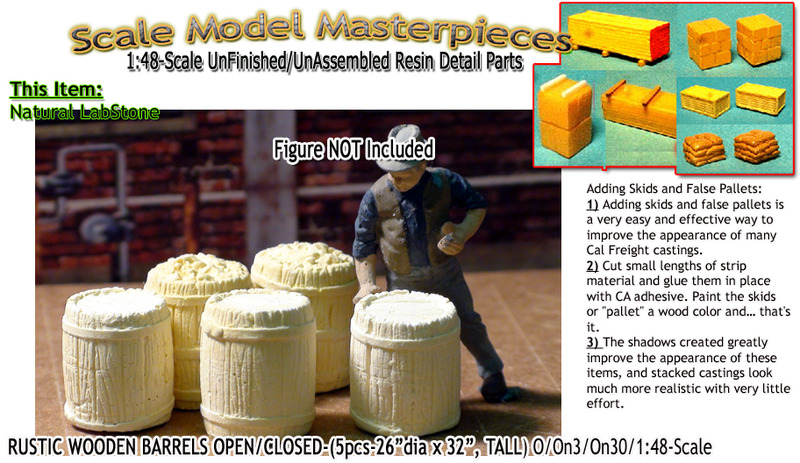 Rustic Wooden Barrels-Open /Closed-(5pcs) Scale Model Masterpieces O/On3/On30/1:48
