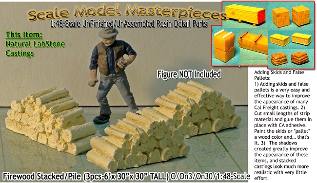 "Firewood Stacks-(3pcs-6'x 30""x 30"" TALL)-Scale Model Masterpieces/Yorke  O/1;48"