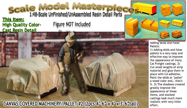 Canvas Covered Machinery/Pallet  #2 (2pcs) Scale Model Masterpieces/YORKE 1;48/On30