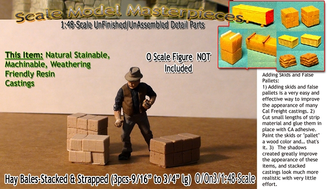 "Hay Bales-Stacked & Strapped-Small (3pcs-9/16"" to 3/4"" lg)  Scale Model Masterpieces O/On3-1;48"