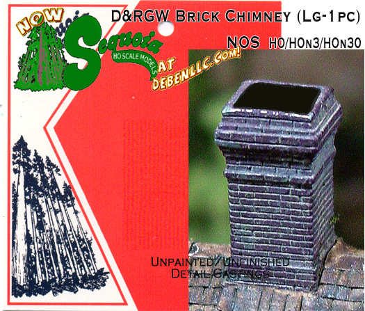 D&RGW Brick Chimney (Large-1pc) - HO/HOn3 Sequoia Scale Models