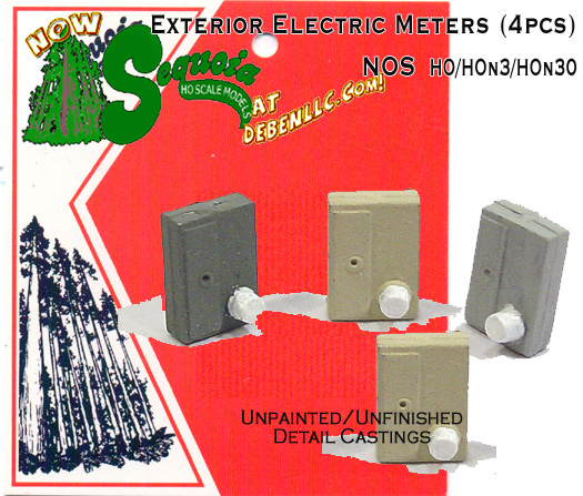 Exterior Electric Box & Meters (4pcs) Sequoia Scale Models  HOn3/HOn30