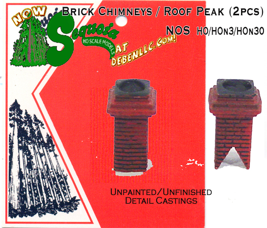 Brick Chimneys / Roof Peak (2pcs-Small) Sequoia Models HOn3/HOn30