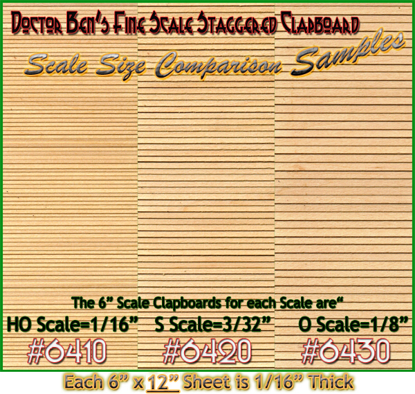 S Scale FSM Style Random/Staggered Clapboard Sheet-Doctor Ben's Scale Consortium