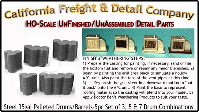 Steel 35gal Drums/Barrels-5pc Set of 3, 5 & 7  Scale Model Masterpieces/Yorke HO/HOn3/HOn30