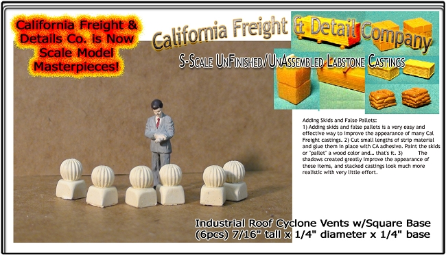 Industrial Roof Cyclone Vents w/Square Base (6pcs) California Freight & Details Co. S/Sn3/1;64