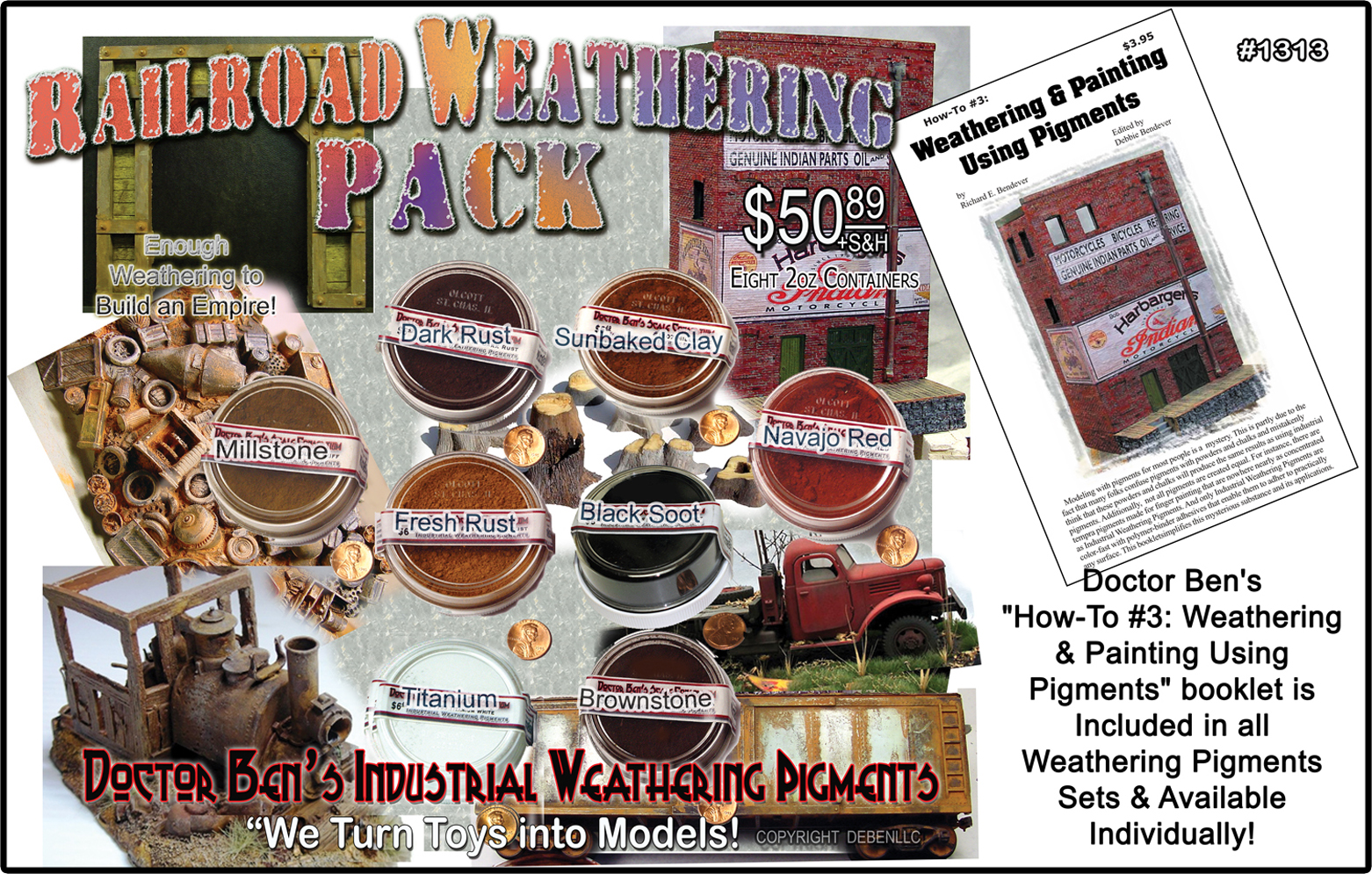 8-Color Railroad Weathering Pigment Set  & Booklet #3-Doctor Ben's