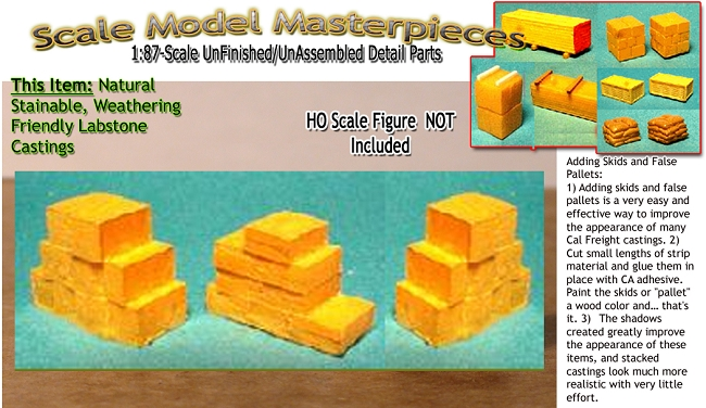 Card Board Boxes, Floor Stacked-Large (3pcs) Scale Model Masterpieces / Thomas A Yorke Ent. HO/1:87