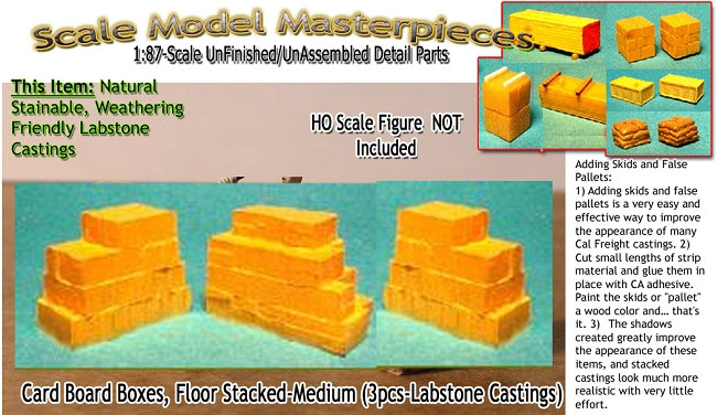 Card Board Boxes, Floor Stacked-Medium (3pcs) Scale Model Masterpieces / Thomas A Yorke Ent. HO/1:87