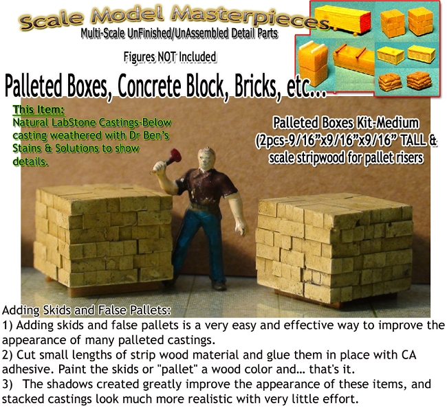 Palleted Cement Blocks-w/Risers (2pcs) HO/HOn3/HOn30-Scale Model Masterpieces