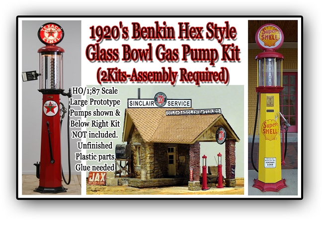 1920's Benkin Hex Style Gas Pump (2Kits) Scale Model Masterpieces HO/HOn3/HOn30 NEW