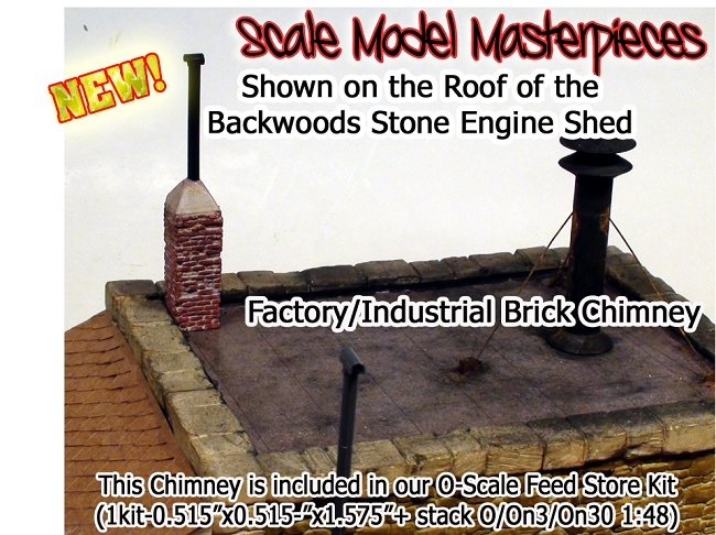 Brick Chimney for Factory/Blacksmith/Industrial Kit-Scale Model Masterpieces/Yorke O/1:48