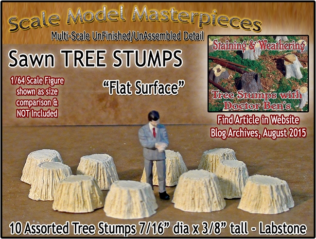 Sawn Tree Stumps-Assorted Flat 10pcs Scale Model Masterpieces S/1:64