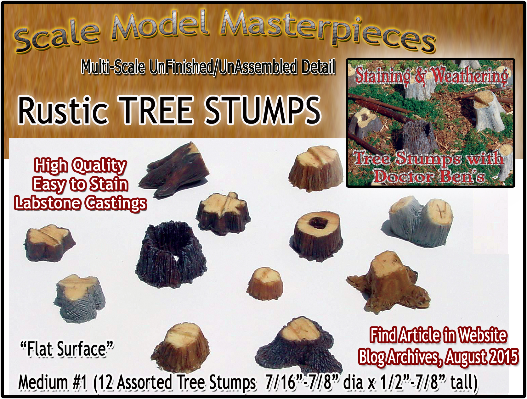 Old Tree Stumps-MEDIUM #1 (Labstone-12pcs) Scale Model Masterpieces Multi Scale