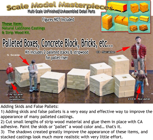 4 Sets of Palleted Boxes-w/Risers (8pcs) HO/HOn3/HOn30-Scale Model Masterpieces
