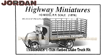 Jordan Highway Miniatures 1923 Mack AC 1-Ton Chain-Drive Flatbed Stake Truck Kit NOS HO/1:87