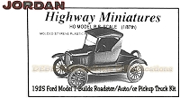 Jordan Highway Miniatures 1929 Model T-Builds Roadster, Auto, or Pickup Truck Kit NOS HO/1:87
