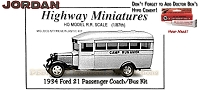 Jordan Highway Miniatures 1934 Ford 21 Passenger/School Bus Kit NOS HO/1:87