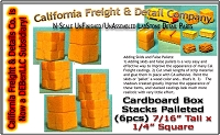 Cardboard Box Stacks Palleted (6pcs) Scale Model Masterpieces/California Freight & Details Co N/Nn3