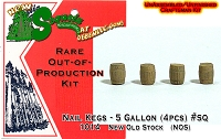 5-Gallon Wood Nail Kegs (4pcs)  Sequoia Models HO/HOn3/HOn30